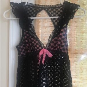 BETSEY JOHNSON sexy, black lace chiffon teddy